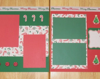Candy Cane Scrapbook Page - Christmas Scrapbook Layout - 12 x 12 Scrapbook - Christmas Memories - Christmas Photos - Christmas Day