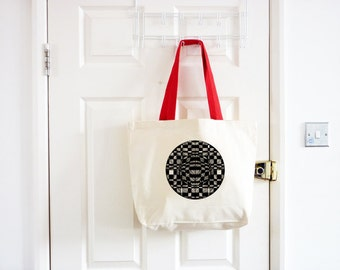 Geometric Canvas Tote Bag/ Illustrated Tote Bag/ Large Canvas Bag/Printed Tote/ Market Bag/ Checked Beach Bag/ Canvas Shopping Bag