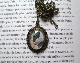 Cabochon glass Unicorn black and silver necklace