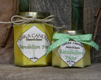 SALE - Small DANDELION PEAR Soy Wax Candle! 4oz Dandelion candle, Pear Candle, Green Tea candle, Aloe, Wildflowers, floral candle, spring