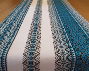 Woven table runner blue table linens ethnic table runner wedding table runner linen table runner Ukrainian ethnic fabric tribal table runner