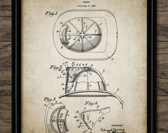 Vintage Fire Helmet Patent Print - 1932 Fire Helmet - Firefighting Equipment Design - Single Print #659 - INSTANT DOWNLOAD