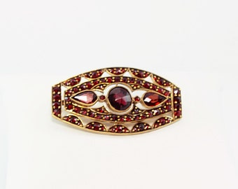 Vintage Garnet Brooch, Gold Plated, Antique Brooch, Antique Garnet Brooch, Bohemian Brooch, Vintage Broach, one-of-a-kind