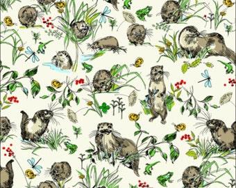 Cotton Fat Quarter Makower Riverbank Otters