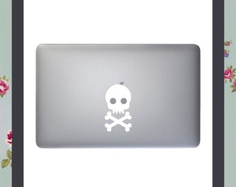 Mac Decal, Skull and Crossbones sticker, Apple Macbook and other laptop sticker, Mac Stickers