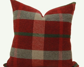Red plaid chenille throw pillow cover 12x16 12x18  pillow cover Red pillow Plaid Lumbar pillow