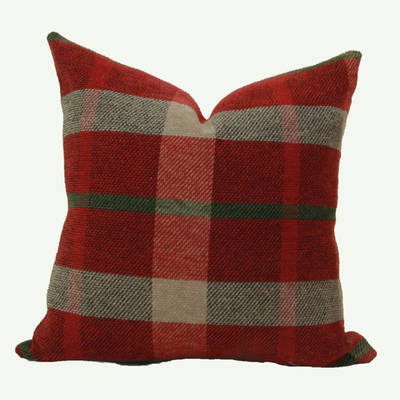 Red plaid chenille throw pillow cover 12x16 12x18 pillow
