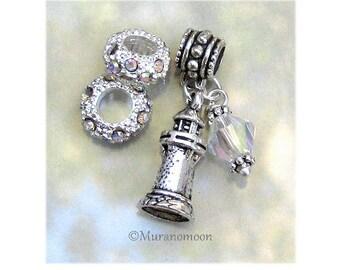 Lighthouse Charm Fit European Bracelet AB Swarovski Crystal Dangle Charm Birthstone Add A Bead Make Your Own Jewelry Charm Bracelet #DC1031