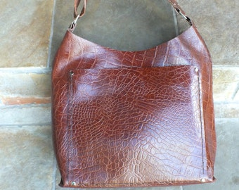 Leather Journey Bag, Genuine Leather with upcycled pocket lining
