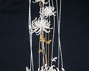 L/S tee shirt with embroidered Spider Mums from Topstitch Designs by Linda