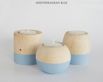 """Wooden Candle Holders in """"Mediterranean Blue"""""""