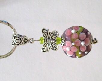 695 - Lavender Floral Key Ring