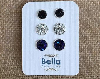Stud Earring Set, Druzy Earring Set, Druzy Stud Earring Set, Purple Studs, Purple Stud Earrings, Black Earring Set, Druzy Earring Sets
