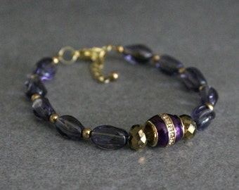 Purple Bracelet, Purple Bead Bracelet, Purple Beaded Bracelet, Gold Bead Bracelet, Gold Bracelet, Purple and Gold Bracelet, Purple Beads