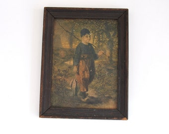 Vintage Framed Fisherman Print Made by Oilettes