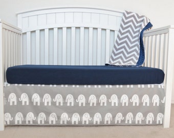 3 Piece Crib Set - Elephant and chevron crib set