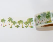 Washi Tape roll palm trees scrapbooking planner supplies Gift  decoration baby shower  invitation kid fun