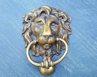 Antique Brass Lion Door Knocker, Lion Head Front Door Rapper