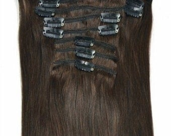 "Dark Brown Clip In 100% REMY Human Hair Extensions 20"" #2 EXTRA THICK 120 / 180 / 240 grams"