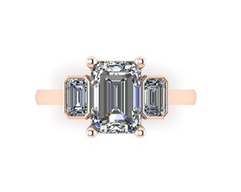 Forever One Moissanite Engagement Ring Rose Gold Ring Emerald Cut Ring 3.06ct Art Deco Style 3 Stone Anniversary Pristine Custom Rings
