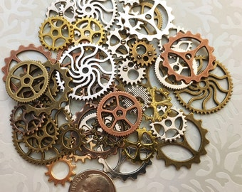 40 New Big Large Steampunk Gears Cogs Buttons Wheels Watch Parts Altered Art Brass Copper Silver Charms Jewelry Gothic Supplies Crafts