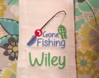 Gone Fishing Burp Cloth
