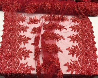 Red rich flower design embroider and heavy beading on a mesh lace-prom-nightgown-decorations-dresses-sold by the yard.