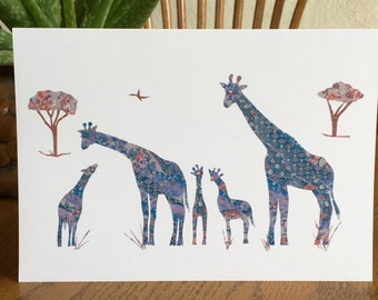 Giraffe Card, Animal Card, African card, cut paper art, baby greeting card, nursery, kids, african art, children card