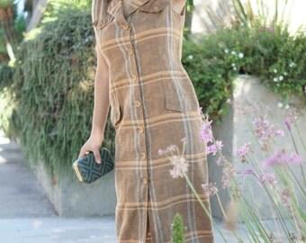 SALE Vintage BoHo Check Dress