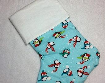 Cute little penguins Christmas stocking, penguin stocking, penguin decor,