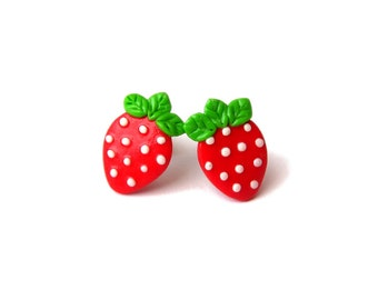 Strawberry Earrings, Red Earrings, Miniature Food Earrings, Fruit Earrings, Summer Jewelry, Girls Outfit, Girls Earrings, Small Earrings