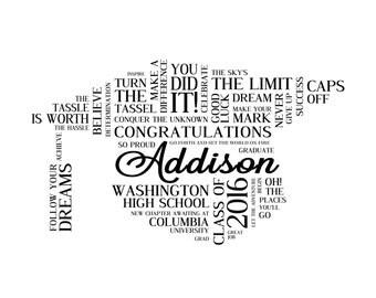 Personalized High School Graduation Word Art. Graduation Gift. Digital Image. Printable File