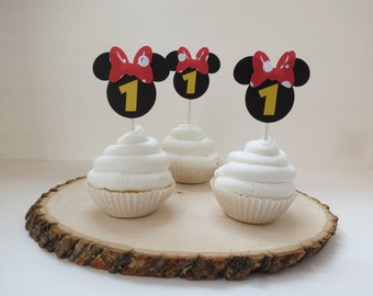 Minnie Mouse Black & Red Polkadot Cupcake Toppers - Set of 12
