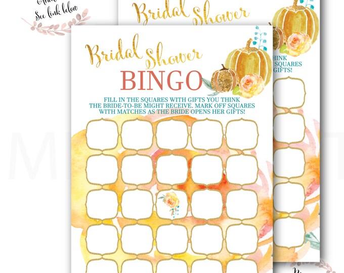 Pumpkin Bridal Shower Bingo // Bridal Shower Games // Fall Bingo Card // Gold Glitter // Floral // Autumn /Printed // CAPE BRETON COLLECTION