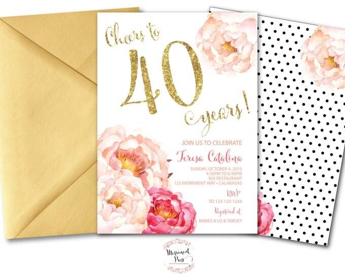 Peony 40th Birthday Invitation // Peonies // Watercolor // Pink // Gold Glitter // Polka Dots // Calligraphy // CALABASAS COLLECTION