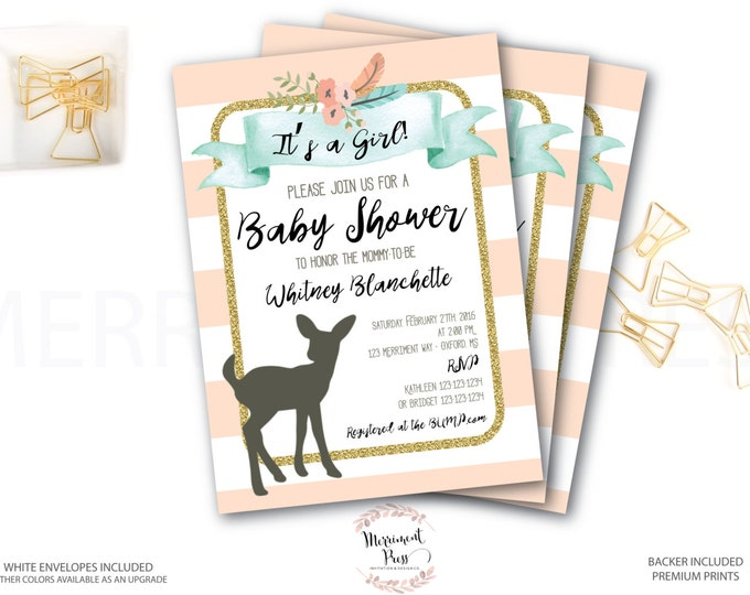 Woodland Baby Shower Invitation // Oh Deer // Fawn Invitation // It's a Girl // Peach // Mint // Gold Glitter // OXFORD COLLECTION