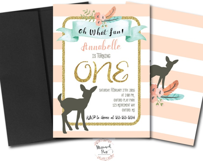 Deer First Birthday Invitation // Oh Deer // Fawn Invitation // Birthday // ONE // Peach // Mint // Gold Glitter // OXFORD COLLECTION