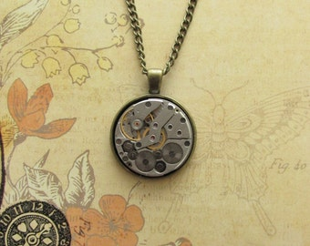 "50% SALE - Steampunk ""Rogue"" Vintage Clockwork Pendant Brass Necklace"