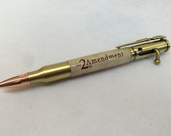 2nd Admendment hand made Antique Brass Bullet Ballpoint Patriotic Pen