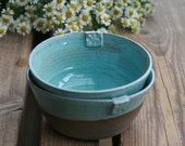 2 Large Deep bowls - Brown and Turquoise pottery serving bowls  for soup - house warming gift idea
