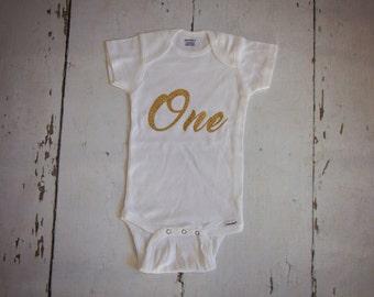 Glitter gold 1st birthday onesie-birthday onesie- white and gold onesie