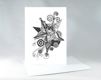 Starburst Galaxy Card, Congratulations Card, Party Invitation Card, Celebration Card, Steampunk Gears, Galaxy Stars Greeting Card