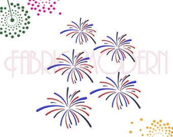 Independence Fireworks Machine Embroidery Design, Three color fireworks for a patriotic July 4th 5 sizes, #663