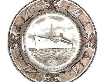 Masons Ironstone Brown Transferware Plate - MS ORANJE Ship - Nautical Decor Wall Plate, Maritime Memorabilia Decorative Plate, Nautical Gift
