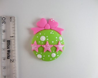 Christmas ball ornament. Natudesign  Clay Charm Bead, Scrapbooking, Bow Center, Pendant, Cupcake topper, Magnet