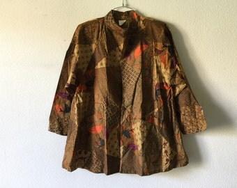 Vintage 80s Cotton Blazer Jacket Boho Bohemian