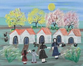 Annie Wellborn, American Folk Artist.   Untitled painting (Cabins), 20th c.