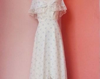 Vintage 70s Floral Cotton Lace Maxi Dress