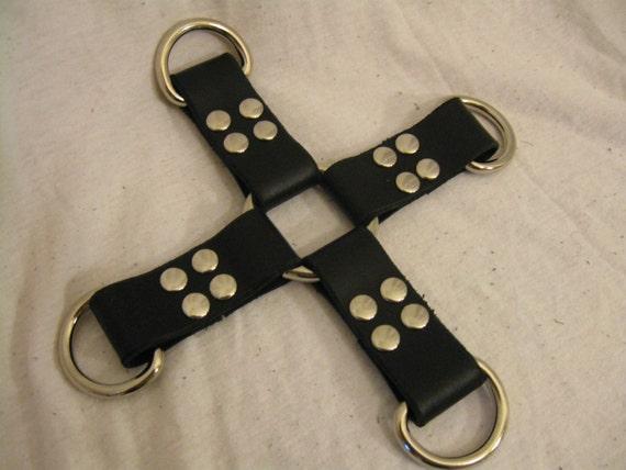 """8"""" Wide Black Latigo Leather Hog Tie"""