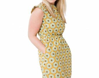 Women's Tunic Dress ~ Dress with Pockets ~ Women's Summer Dress ~ Ladies Dress ~ Mustard Yellow Ornate Floral~ Cap Sleeves ~ Yellow Dress